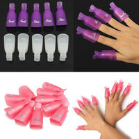 10 Wearable Plastic Acrylic Nail Art UV Gel Polish Remover Clip Cap Wrap Holder