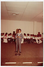 Vintage 70s PHOTO Young Black Male Youngster In Suit At Microphone At Event
