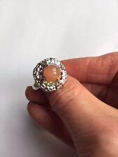 Genuine Peach Moonstone, BlueTopaz, Amethyst, Peridot & Garnet Silver Ring Size7