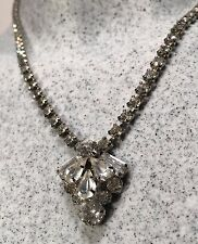 "Signed SHERMAN Ladies Classic White Swarovski Crystal Necklace 14-17"" X 1"""