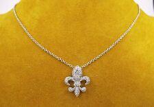 """DIAMOND FLEUR DE LIS Pendant Charm and Chain Necklace 14k White Gold 16"""""""