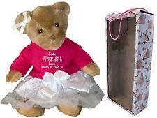 Personalised Teddy Bear Bridesmaid Flower Girl Mother Bride Wedding Gift + Box