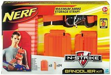 Brand New NERF Bandolier Kit ~ Strap 2 QUICK RELOAD CLIPS 24 Clip System Darts