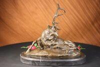 Bronze Marble Statue Elk Hunter Buck Stag trophy Sculpture Art Deco Figurine LRG