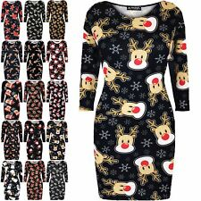 Ladies Womens Christmas Santa Rudolph Reindeer Gift Star Mini Xmas Bodycon Dress