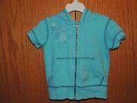 Girls Gap Blue Short Sleeve Full Zip Hoodie Size 4/5