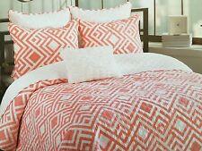 Max Studio Geometric Twin Quilt Set 3 Pc W/ Deco Pillow Coral