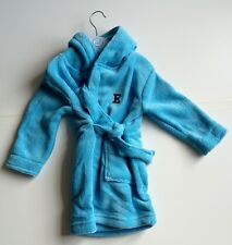 Personalised 6-12 Months Blue Embroidered Baby Dressing Grown/ Robe Front & Back