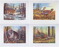 MINT Vintage WILDLIFE Print Set DEER Raccoons PHEASANTS Turkey W. HAROLD HANCOCK