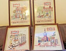 Bucilla Creative Needlepoint Colonial America Set of 4 Finished and Framed