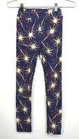 LuLaRoe Girls Kids Blue Firework Pattern Stretch Leggings Athletic Pants L/XL