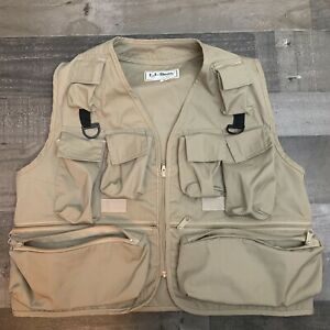Vintage LL Bean Fly Fishing Vest - Men's M Khaki Made in USA (See Measurements)