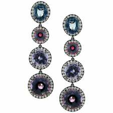 25.11 Carat Three Colored Spinel and 1.85 Carat Cubic Zirconia Beautiful Earring
