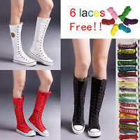 PUNK Women Girls Shoes Zip Lace Up Boot Canvas Sneaker Knee High Black/White/Red