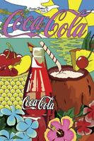 COCA COLA SODA POP TROPICAL THEME HEAVY DUTY USA MADE METAL ADVERTISING SIGN