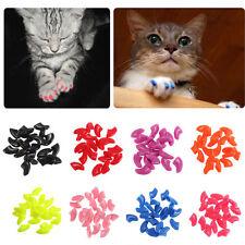 20pcs Soft Cat Pet Nail Caps Claw Control Paws off + Adhesive Glue Size XS-L