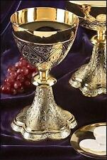 "Solid Brass w 24KT Gold Embossed Vines Altar Chalice with Paten 8 1⁄4"" H 19 oz"
