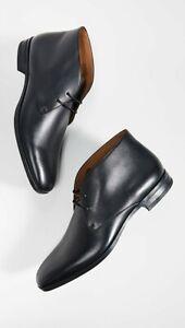 $398 New BOSS by HUGO BOSS KENSINGTON Black Leather DESERT Shoes US-8.5 UK-7.5