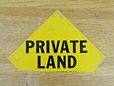 Vintage Small Aluminum Private Land Sign - Diamond Shape, Bottom Cut Off