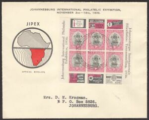 South Africa 1936 KGV 1d JIPEX Opt Sheet Used Official First Day Cover Pane 11