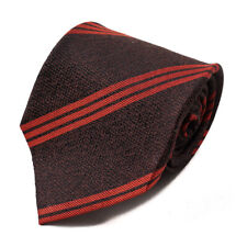 NWT $230 ISAIA NAPOLI Chocolate Brown and Red Ribbon Stripe Silk Tie