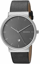 NWT Skagen Men's Watch SKW6320 'Ancher' Grey Leather Watch MSRP $175