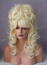 Light Blonde High Cone Beehive Curls Long Dolly Parton Style Julienne Wig