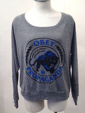 Obey Women's LS Knit Top Panther Militia Heather Grey Size S NEW Marijuana Weed