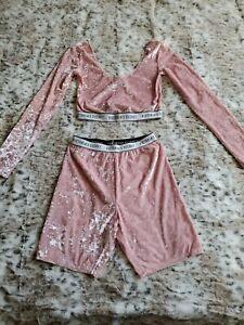 Victorias Secret S Pink Logo Crushed Velvet Set Top Bottom Shorts