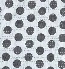 "Indian Polka Dot Design Cotton Kantha Stitch C/Cover-Grey/Grey Stitch -16""/41 cm"
