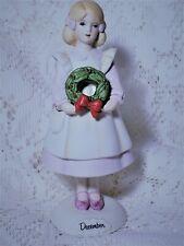 December Birthday Porcelain Girl Figurine Vtg Enesco Monthly Girls 1985 Growing