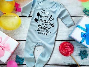 Happy 1st birthday as my Daddy blue long sleeve rompersuit sleepsuit baby grow