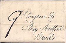 1822 PRE STAMP COVER LETTER TRENTHAM TO STONY STRATFORD REVEREND THOMAS BUTT