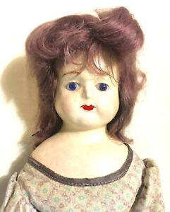 """Antique Paper Mache or Composition Doll, Glass Eyes, Original Outfit -18-1/2 """""""