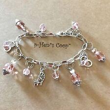 Giraffe & Baby Calf W Heart Charm Bracelet Silver/pink Handmade USA 1097
