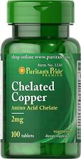CHELATED COPPER AMINO ACID CHELATE 2mg RED BLOOD CELLS BONE SUPPLEMENT 100 TABS