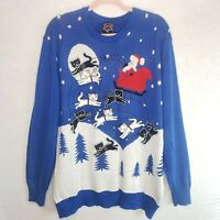 Ugly Christmas Sweater Santa Cats Sleigh Well Worn Mens 2X XXL Blue Funny Festiv