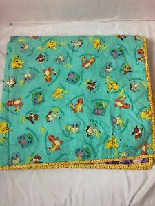 Handmade Pokemon Twin Size Quilt 40 X 72 Pikachu Squirtle Purple Green Yellow