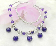 """LOVELY NATURAL RUSSIAN AMETHYST ROUND BEADS PENDANTS & TIBET SILVER NECKLACE 18"""""""