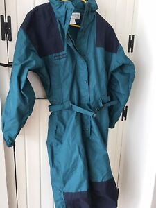 Vintage Columbia Snow Suit Teal/Navy/Black Belted Ski Suit Women's Size L