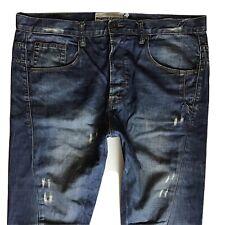 Mens Topman Moto Skinny Carrot Ripped Blue Jeans Size 34 R W34 L30 (448)