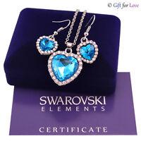 Parure oro bianco Swarovski Element originale G4L cristalli cuore oceano Titanic