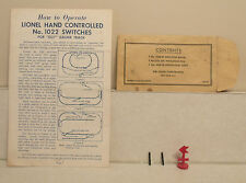 Lionel Postwar 1022-41 Envelope and Contents - For Hand Controlled 1022 Switches