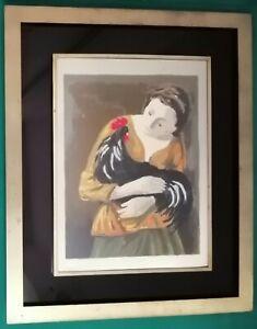 Quadro - Donna con gallo, Domenico Purificato - Litografia su argento - 29x39 cm