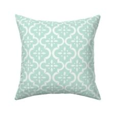 Mint Green Modern Floral Throw Pillow Cover w Optional Insert by Roostery