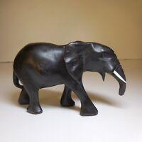 Sculpture statue éléphant noir ébène vintage art ethnique 1938 Afrique N7673