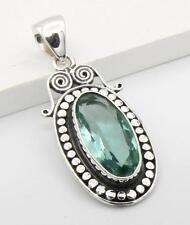 """VINTAGE STYLE GREEN APATITE 925 STERLING SILVER DROP NECKLACE PENDANT ~ 1 3/4"""""""