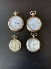 Lot Of 4 Vtg Antique  Face Stem-Winding Pocket Watches