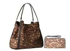New Coach 32410 Madison Phoebe Ocelot Print Handbag + Wristlet Wallet 52099