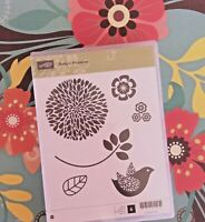 Stampin Up Wood Mount Rubber Stamps Betsy's Blossoms Nature Flower Garden Bird